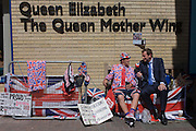 London 19th July 2013: Royalist is interviewed as tension mounts outside St Mary's Hospital, Paddington London, where media and royalists await news of Kate, Duchess of Cambridge's impending labour and birth. Some have been camping out for up to two weeks during a UK heatwave, having bagged the best locations where an heir to the British throne will eventually be shown to the world. Copyright Richard Baker/Alamy Live News