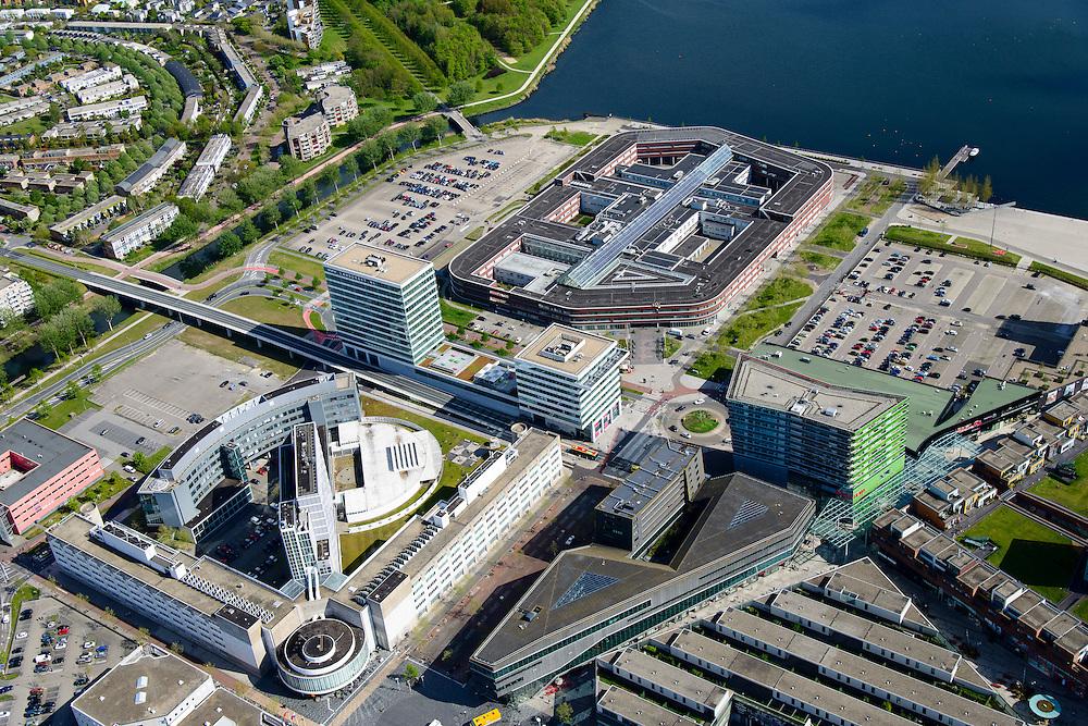 Nederland, Flevoland, Almere, 07-05-2015;  Stadshart Amere, met Flevoziekenhuis, Satdhuis en Esplanade.<br /> City entre of the new town Almere.<br /> luchtfoto (toeslag op standard tarieven);<br /> aerial photo (additional fee required);<br /> copyright foto/photo Siebe Swart