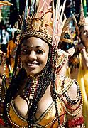 Girl in carnival costume at Notting Hill Carnival London UK 2001