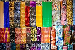 DOHA, QATAR - Thursday, December 19, 2019: Textiles on sale at the Souq Waqif during the FIFA Club World Cup Qatar 2019 tournament. (Pic by David Rawcliffe/Propaganda)