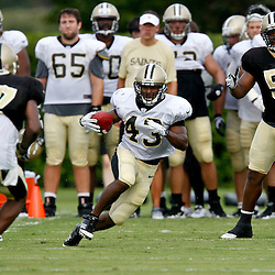 July 28, 2012; Metairie, LA, USA; New Orleans Saints running back Darren Sproles (43) runs during a training camp practice at the team's practice facility. Mandatory Credit: Derick E. Hingle-US PRESSWIRE