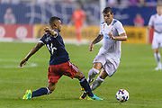 CHICAGO, IL - AUGUST 02: MLS All-Star and Chicago Fire Defender Johan Kappelhof (16) fouls Real Madrid defender Theo Hernandez (15) in the first half during a soccer match between the MLS All-Stars and Real Madrid on August 02, 2017, at Soldier Field in Chicago, IL. (Photo By Daniel Bartel/Icon Sportswire)