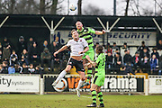 Forest Green Rovers Charlie Clough(5) heads the ball during the Vanarama National League match between Bromley FC and Forest Green Rovers at Hayes Lane, Bromley, United Kingdom on 7 January 2017. Photo by Shane Healey.