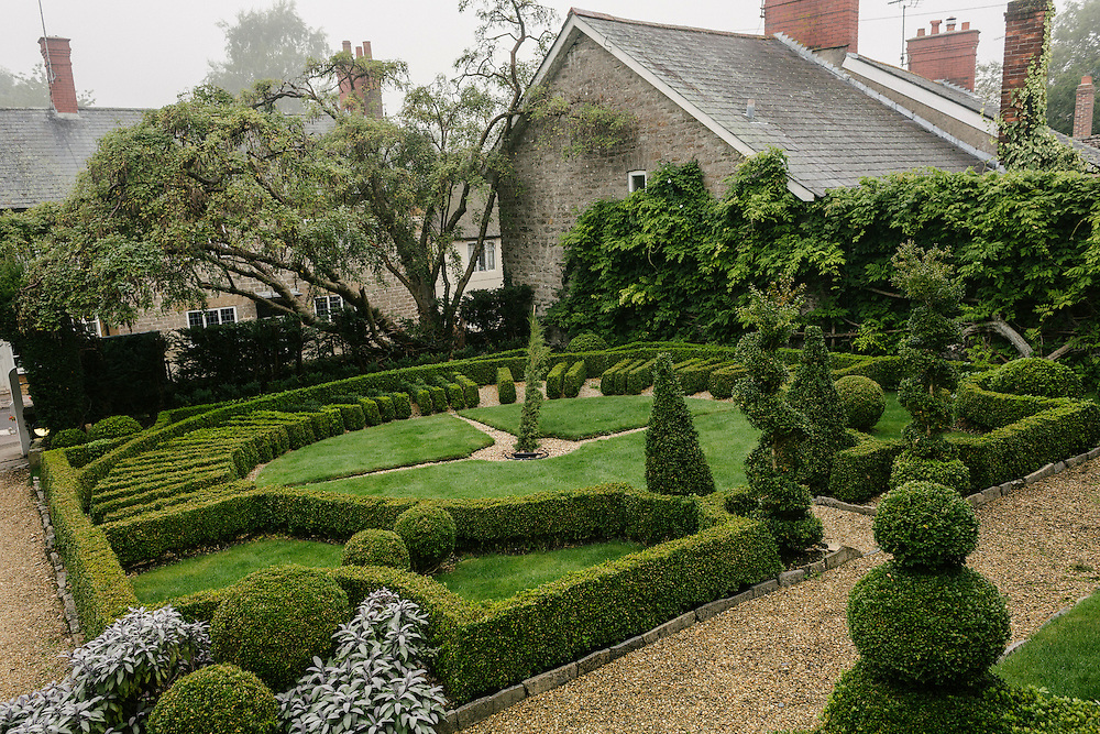 A landscaped garden at the Summer Lodge, a Georgian listed hotel.