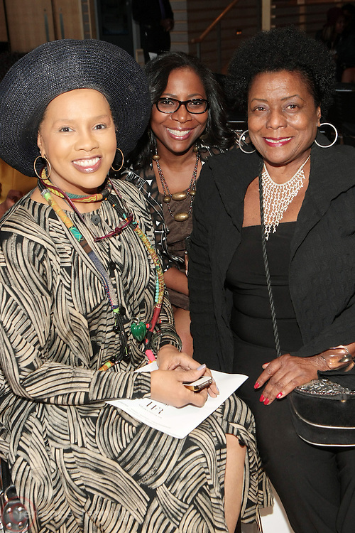 6 September 2013- New York, NY: (L-R) Actress Sherry Bronfman, Jackie Rodin and Fashion Entrepreneur Veronica Jones attends Harlem Fashion Row 2013 Spring Presentation held at Jazz at Lincoln Center on September 6, 2013 in New York City. ©Terrence Jennings