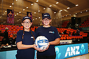 ANZ Future Captains Xanthea Greaves aged 12 and Ashleigh Greaves aged 12 pose for a photo prior to the match. 2018 ANZ Premiership netball match, Stars v Tactix at Pulman Arena, Auckland, New Zealand. 18 June 2018 © Copyright Photo: Anthony Au-Yeung / www.photosport.nz
