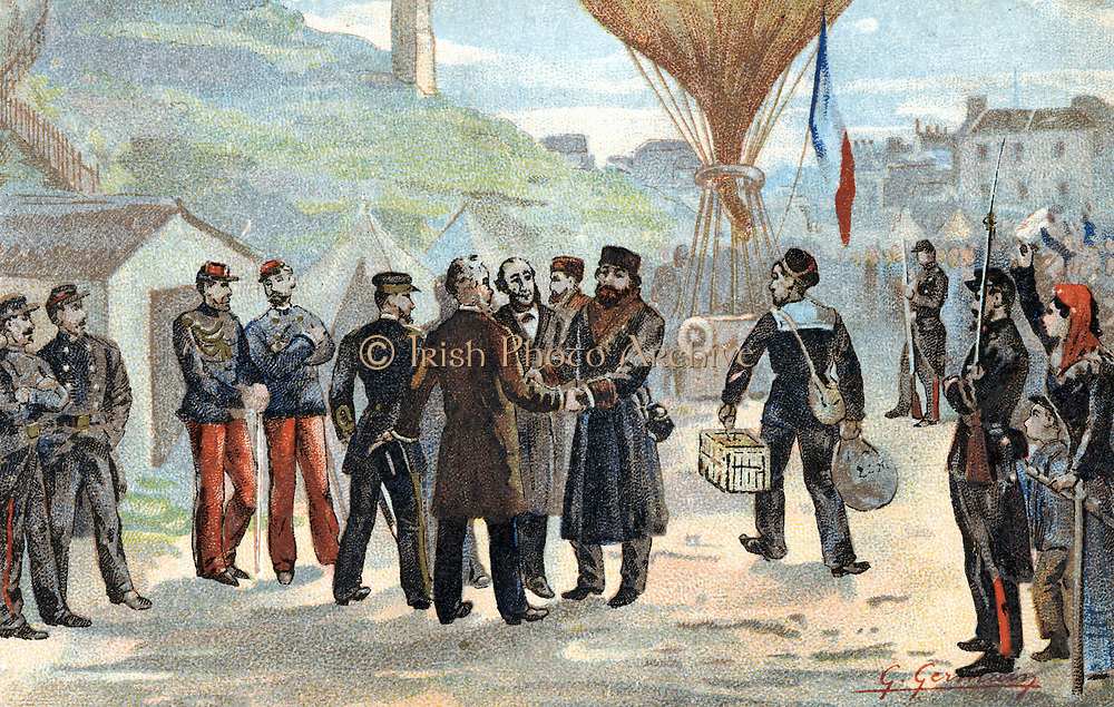 Franco-Prussian War 1870-1871: Leon Gambetta (1838-1882), French Republican politician (in hat, centre) about to escape besieged Paris for Tours by balloon, 7 October 1870. Dictator of France for 5 months. Chromolithograph published Paris 1890.