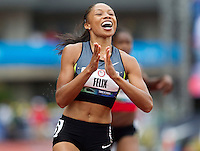 Allyson Felix celebrates after winning the finals of the 100m during day 9 of the U.S. Olympic Trials for Track & Field at Hayward Field in Eugene, Oregon, USA 30 Jun 2012..(Jed Jacobsohn/for The New York Times)....