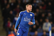 Leicester City forward Jamie Vardy (9) reacts after being ruled off-side during the Premier League match between Leicester City and Manchester City at the King Power Stadium, Leicester, England on 18 November 2017. Photo by Jon Hobley.