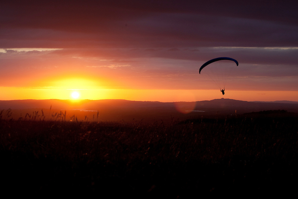 Paragliding on Selsley Common, Stroud, Gloucestershire
