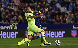 January 10, 2019 - Valencia, Valencia, Spain - Jose Campana of Levante UD and Arturo Vidal of FC Barcelona during the Spanish Copa del Rey match between Levante and Barcelona at Ciutat de Valencia Stadium on Jenuary 10, 2019 in Valencia, Spain. (Credit Image: © AFP7 via ZUMA Wire)