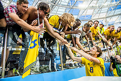 June 18, 2018 - Nizhny Novgorod, Russia - Albin Ekdal with Swedish fans..2018 FIFA World CUP, Sweden - South Korea, 1-0, Nizhny Novgorod Stadium, Russia, 2018-06-18..(c) ORRE PONTUS  / Aftonbladet / IBL BildbyrÃ¥....* * * EXPRESSEN OUT * * *....AFTONBLADET / 85527 *** Local Caption  (Credit Image: © Orre Pontus/Aftonbladet/IBL via ZUMA Wire)
