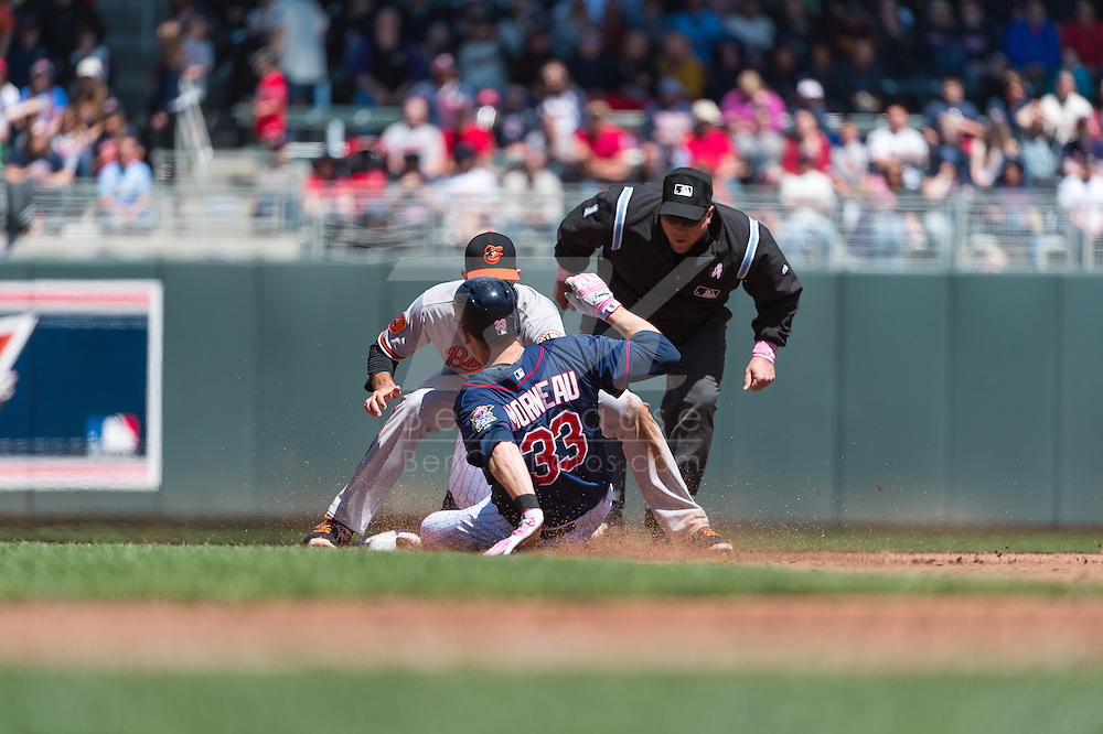 Justin Morneau #33 of the Minnesota Twins is tagged out at 2nd base by J.J. Hardy #2 of the Baltimore Orioles on May 12, 2013 at Target Field in Minneapolis, Minnesota.  The Orioles defeated the Twins 6 to 0.  Photo: Ben Krause