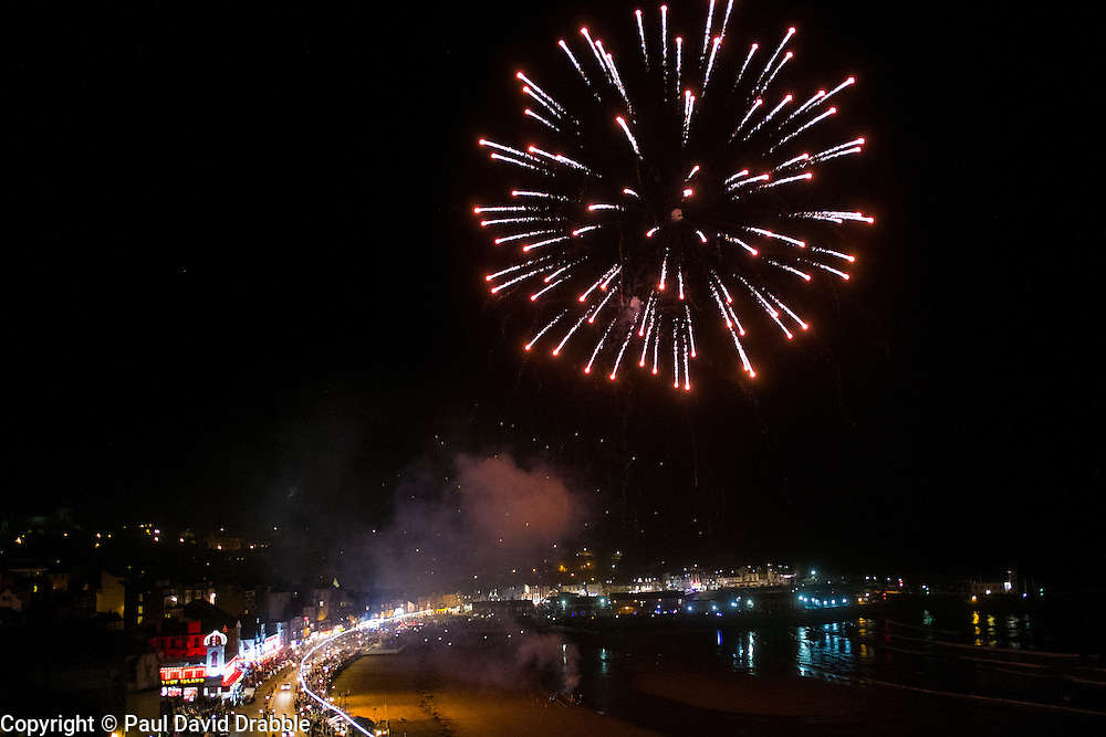 Fireworks on the beach after the Scarborough Goldwing Light Parade 2015 from the terrace of the Grand Hotel<br />