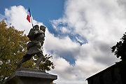ww1 memorial statue on the centenary memorial day 11 november 2018 in Villelongue-d'Aude France