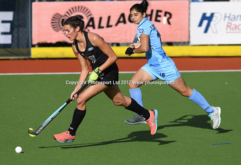 Amy Robinson on the attack.<br /> Vantage Black Sticks Women vs India. International Hockey. Gallagher Hockey Centre. Hamilton. New Zealand. Friday 19 May 2017 &copy; Copyright Photo: Andrew Cornaga / www.photosport.nz