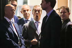 © Licensed to London News Pictures . 25/09/2015 . Doncaster , UK . NIGEL FARAGE prepares to enter the room to speak at the 2015 UKIP Party Conference at Doncaster Racecourse , this morning (Friday 25th September 2015) . Photo credit : Joel Goodman/LNP