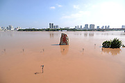 "NANNING, CHINA - SEPTEMBER 21: (CHINA OUT) <br /> <br /> Flood Peak Arrives At Nanning<br /> <br /> A stone statue is submerged by flood at Minsheng Square on September 21, 2014 in Nanning, Guangxi province of China. The highest water level at Yongjiang River in a year comes as Typhoon ""Kalmaegi\"" hit Nanning on September 20. The flood peak runs up to 74.83 meters and has been a biggest flood peak since 2008. <br /> ©Exclusivepix"