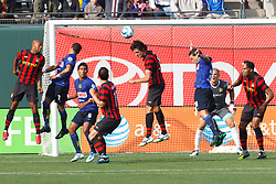 July 16, 2011; San Francisco, CA, USA;  Manchester City defender Stefan Savic (center) clears a corner kick in front of the goal against Club America during the first half at AT&T Park. Manchester City defeated Club America 2-0.