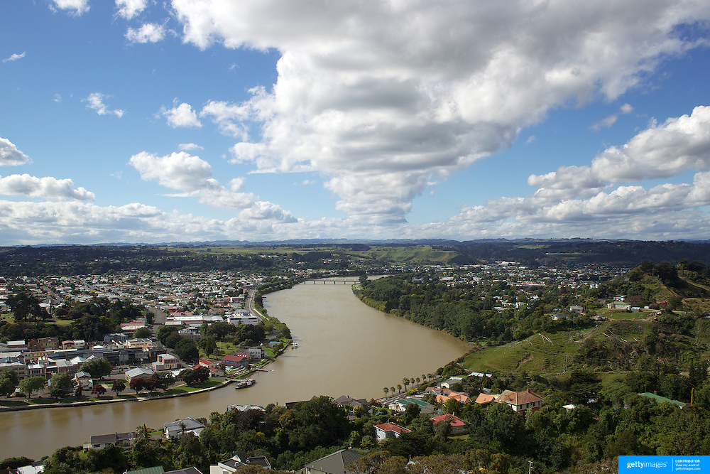 The view from the top of Durie Hill Memorial Tower showing the Whanganui River running through the town. 27th December 2010. Photo Tim Clayton.