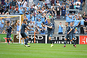 Keaton Parks(right) of NYCFC is congratulated by teammate Alexander Callens after scoring goal in the 40 min. mark during a MLS soccer game against San Jose Earthquakes, Saturday, Sept. 14, 2019, in New York.NYCFC defeated San Jose Earthquakes 2-1.(Errol Anderson/Image of Sport)