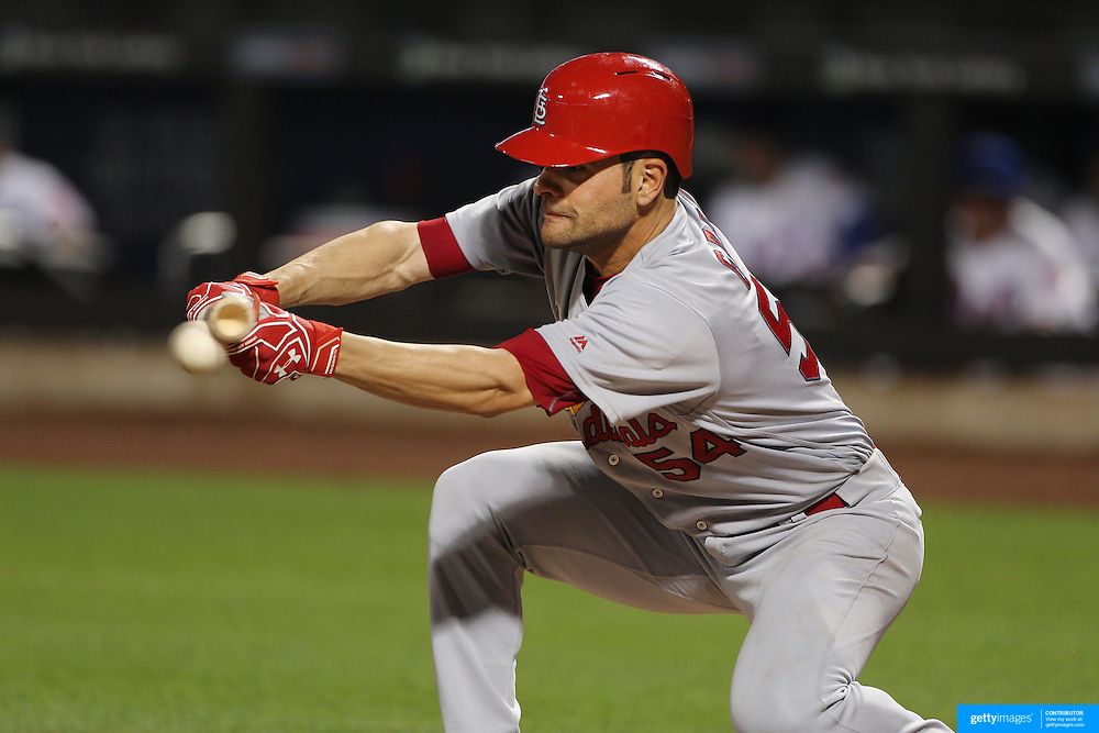 NEW YORK, NEW YORK - July 26: Jaime Garcia #54 of the St. Louis Cardinals bunting during the St. Louis Cardinals Vs New York Mets regular season MLB game at Citi Field on July 26, 2016 in New York City. (Photo by Tim Clayton/Corbis via Getty Images)