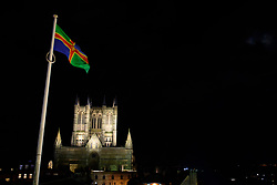 Images of the 2019 Lincoln Christmas Market taken from the wall walk at Lincoln Castle looking towards Lincoln Cathedral past the Lincolnshire Flag. <br /> <br /> Picture: Chris Vaughan Photography<br /> Date: December 6, 2019