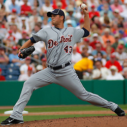 March 1, 2011; Clearwater, FL, USA; Detroit Tigers starting pitcher Alfredo Figaro (43) during a spring training exhibition game at Bright House Networks Field  Mandatory Credit: Derick E. Hingle