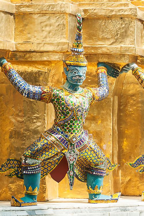 Bangkok, Grand Palace, The Green Demon Guards statues.