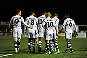 Forest Green Players Celebrate the opening goal 0-1 during the Vanarama National League match between Sutton United and Forest Green Rovers at Gander Green Lane, Sutton, United Kingdom on 14 March 2017. Photo by Adam Rivers.