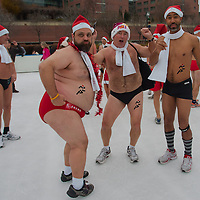 "Participants of the half naked ""Santa run"" in Budapest, Hungary on December 11, 2011. ATTILA VOLGYI"