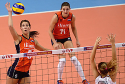 09-01-2016 TUR: European Olympic Qualification Tournament Rusland - Nederland, Ankara<br /> De strijd om Rio of Japan / Robin de Kruijf #5, Anne Buijs #11
