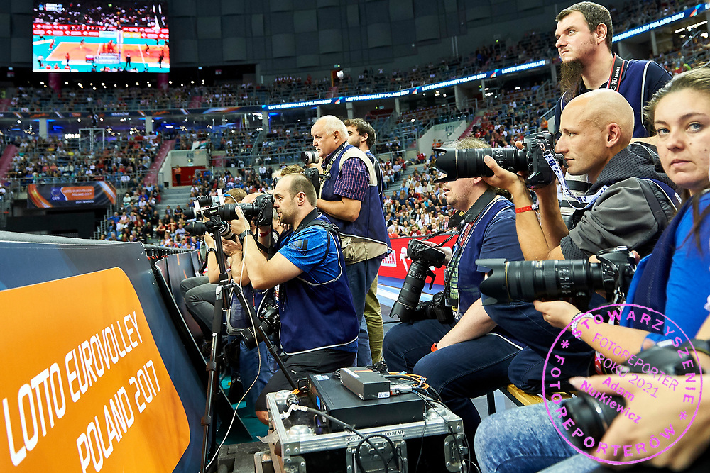 Poland, Krakow - 2017 September 03: Photographers work (2L - Marek Lasyk) while final match between Germany and Russia  during Lotto Eurovolleyball Poland 2017 - European Championships in volleyball at Tauron Arena on September 03, 2017 in Krakow, Poland.<br /> <br /> Mandatory credit:<br /> Photo by &copy; Adam Nurkiewicz<br /> <br /> Adam Nurkiewicz declares that he has no rights to the image of people at the photographs of his authorship.<br /> <br /> Picture also available in RAW (NEF) or TIFF format on special request.<br /> <br /> Any editorial, commercial or promotional use requires written permission from the author of image.