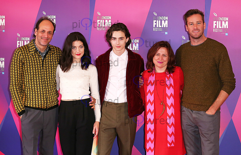 Luca Guadagnino, Timothée Chalamet, Esther Garrel, Claire Stewart & Armie Hammer, BFI London Film Festival Photocall - Call Me By Your Name, The May Fair Hotel, London UK, 09 October 2017, photo by Brett D. Cove