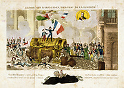 Revolution in France, 1830:  Uprising in Paris 27, 28 and 30 July.   'Glory to the Barricades,  Cradle of Liberty!'   Allegorical print supporting Louis Philippe.Hand-coloured engraving.
