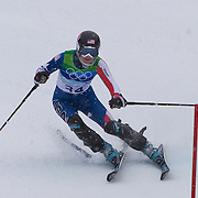 Winter Olympics, Vancouver, 2010. Megan McJames, USA,  in action in the Alpine Skiing Ladies Slalom at Whistler Creekside, Whistler, during the Vancouver Winter Olympics. 24th February 2010. Photo Tim Clayton