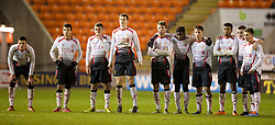 BLACKPOOL, ENGLAND - Wednesday, December 18, 2013: Liverpool players look on during the penalty shoot-out against Blackpool during the FA Youth Cup 3rd Round match at Bloomfield Road. L-R: Lloyd Jones, Pedro Chirivella, captain Conor Randall, Jordan Williams, Joe Maguire, Sheyi Ojo, Sergi Canos, Jerome Sinclair, Jordan Rossiter, Harry Wilson. (Pic by David Rawcliffe/Propaganda)