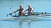 Varese,  ITALY. 2012 FISA European Championships, Lake Varese Regatta Course. ..GBR LW2X, Bow Ruth WALCZAK and Imogen WALSH  at the start of their heat of the Women's lightweight Sculls..10:58:11  Friday  14/09/2012 .....[Mandatory Credit Peter Spurrier:  Intersport Images]  ..2012 European Rowing Championships Rowing, European,  2012 010712.jpg.....