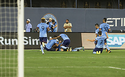 August 20, 2017 - New York, New York, United States - NYC FC players celebrate goal scored by Jonathan Lewis (not pictured) during regular MLS game against New England Revolution on Yankee stadium NYC FC won 2 - 1  (Credit Image: © Lev Radin/Pacific Press via ZUMA Wire)