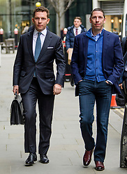 © Licensed to London News Pictures.10/03/2017.London, UK. NICK (L) and CHRISTIAN (R) CANDY arrive at the Royal Courts of Justice in London on 3 March 2017. Brothers Nick and Christian Candy are being sued in a dispute over a £12m loan which was used to help fund Mark Holyoake's own project at Grosvenor Gardens House in central London.Photo credit: Ben Cawthra/LNP