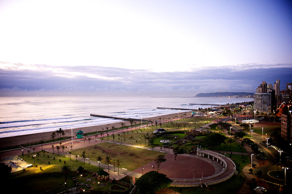 Indian Ocean view from the 12th floor of the Southern Sun Elengeni/Maharani towers in Durban, South Africa.