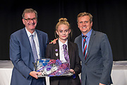 10 October 2017: Cleethorpes Academy Presentation Evening at Grimsby Auditorium. The guest speaker was Aled Jones MBE who presented the awards and also visited the Academy earlier in the day.<br /> Daffodil Fisher Memorial Trust Art Prize winner Emma Harris. Pictured left is Chair of Governors Philip Bond.<br /> Picture: Sean Spencer/Hull News & Pictures Ltd<br /> 01482 210267/07976 433960<br /> www.hullnews.co.uk         sean@hullnews.co.uk