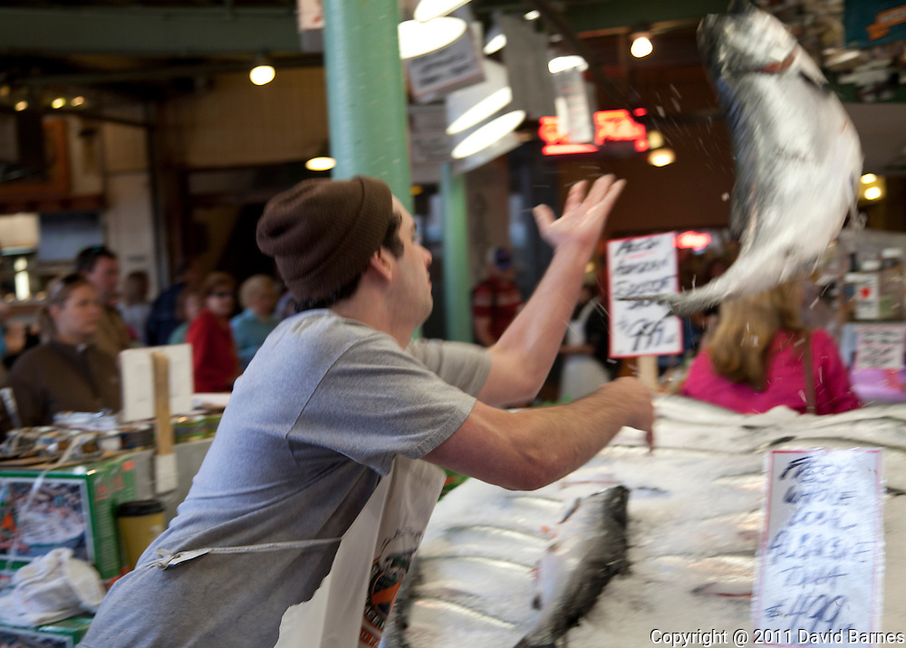 Flying fish, Pike Place Fish Market, Seattle, Washington, USA