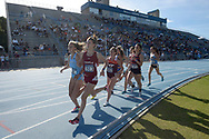 Columbia's Olivia Sadler (301), Temple's Blanca Fernandez (1513), Virginia Tech's Paige Kvartunas (1652), Pennsylvania's Gabby Cuccia (1272) and North Carolina's Lianne Farber (1149) compete in the 1500-meter run event during the NCAA Outdoor Track & Field Championships East Preliminary in Jacksonville, Fla., Thursday, May 28, 2015. (AP Photo/Phelan M. Ebenhack)