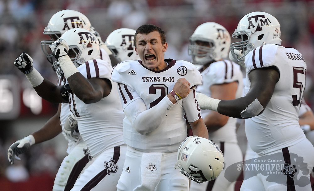 Photo by Gary Cosby Jr.  Texas A&M quarterback Johnny Manziel (2) yells in jubilation after a review proves an A&M touchdown during the first half of the first SEC meeting between Texas A&M and Alabama Saturday, November 10, 2012 in Tuscaloosa.