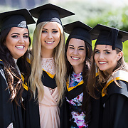 "25.08.2016          <br />  Faculty of Business, Kemmy Business School graduations at the University of Limerick today. <br /> <br /> Attending the conferring were graduates, Aisling Conway, BBs, Wicklow Town, Orla O'Hara, BA in International Studies, Castlebar Co. Mayo, Claire Cahill, BA in International Studies, Brosna Co. Kerry and Niamh Storan, BBs, Dooradoyle Co. Limerick. Picture: Alan Place.<br /> <br /> <br /> <br /> As the University of Limerick commences four days of conferring ceremonies which will see 2568 students graduate, including 50 PhD graduates, UL President, Professor Don Barry highlighted the continued demand for UL graduates by employers; ""Traditionally UL's Graduate Employment figures trend well above the national average. Despite the challenging environment, UL's graduate employment rate for 2015 primary degree-holders is now 14% higher than the HEA's most recently-available national average figure which is 58% for 2014"". The survey of UL's 2015 graduates showed that 92% are either employed or pursuing further study."" Picture: Alan Place"