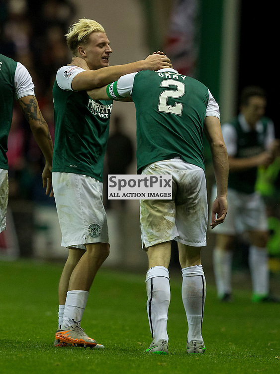 Hibernian FC v Aberdeen FC<br /> <br /> Jason Cummings (Hibernian) celebrates opening goal during the Scottish League Cup clash between Hibernian and Aberdeen FC at Easter Road Stadium on 23 September 2015.<br /> <br /> <br /> <br /> Picture Alan Rennie.