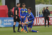 Malik Memisevic of Bosnia and Herzegovina (17) gets up slowly during the UEFA European Under 17 Championship 2018 match between Bosnia and Republic of Ireland at Stadion Bilino Polje, Zenica, Bosnia and Herzegovina on 11 May 2018. Picture by Mick Haynes.