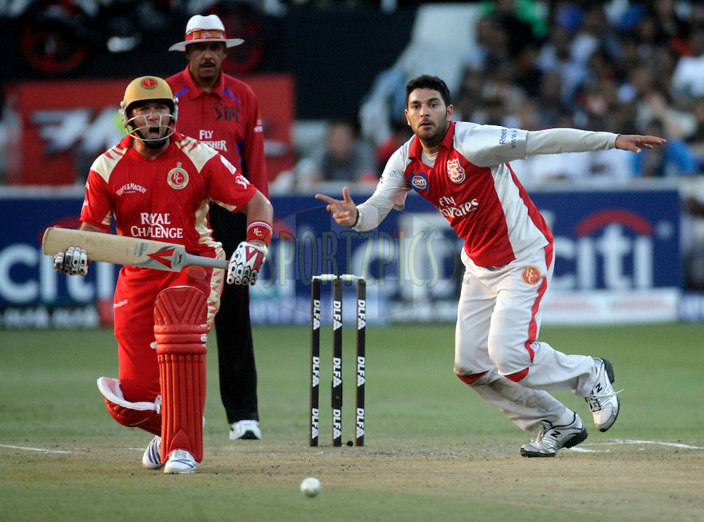 DURBAN, SOUTH AFRICA - 24 April 2009. Jacques Kallis reacts as Yuvraj Singh moves toward the ball during the IPL Season 2 match between the Royal Challengers Bangalore and the Kings X1 Punjab held at Sahara Stadium Kingsmead, Durban, South Africa..