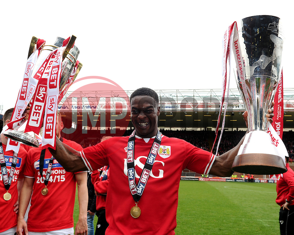 Bristol City's Kieran Agard lifts the Sky Bet League One and JPT trophy's  - Photo mandatory by-line: Joe Meredith/JMP - Mobile: 07966 386802 - 03/05/2015 - SPORT - Football - Bristol - Ashton Gate - Bristol City v Walsall - Sky Bet League One